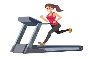 57743670 - color young woman running on treadmill