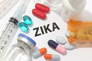 zika virus concept photo with syringes and medication.